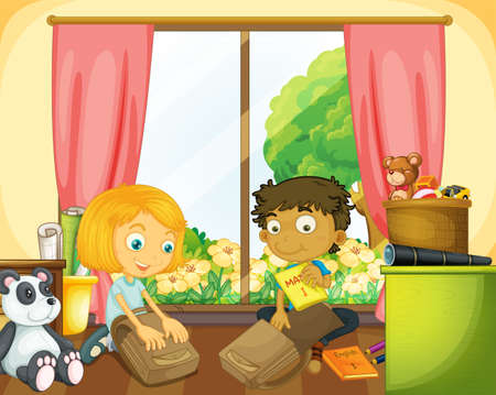 Two kids packing schoolbag in the house illustration