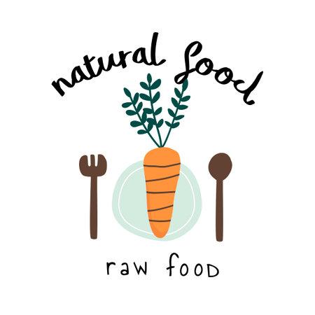 Natural raw food logo vector