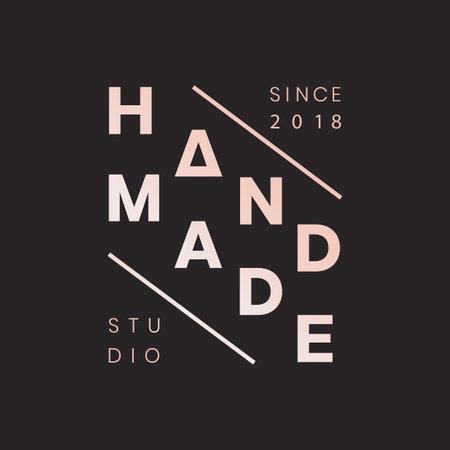 Handmade crafts logo badge vector