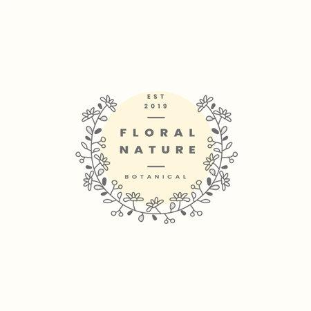 Floral nature badge design vector