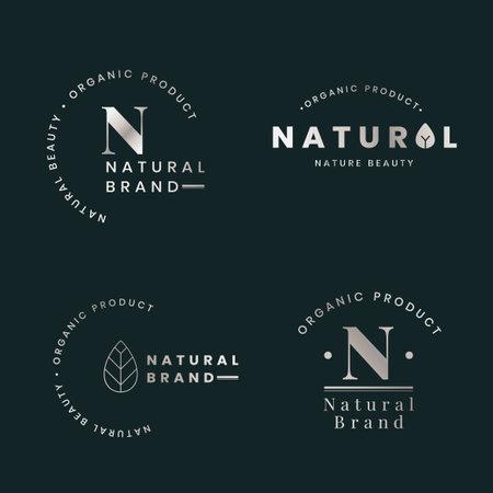 Natural brand  badges vector set