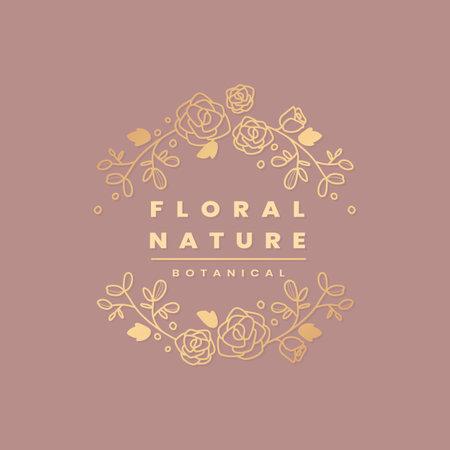 Golden floral nature botanical vector