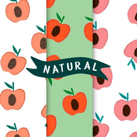 Set of natural fruit apple patterns vector 矢量图像