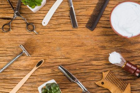 Shaving tools brush, foam, shaver.