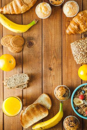 Healthy breakfast  Selective focus. Top view. Flat lay 免版税图像