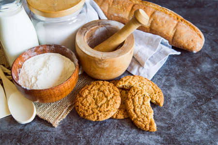Pastries with gingerbread and croissants and coffee
