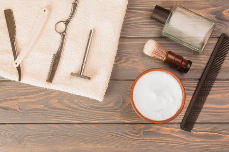 Shaving tools : brush, foam, shaver.