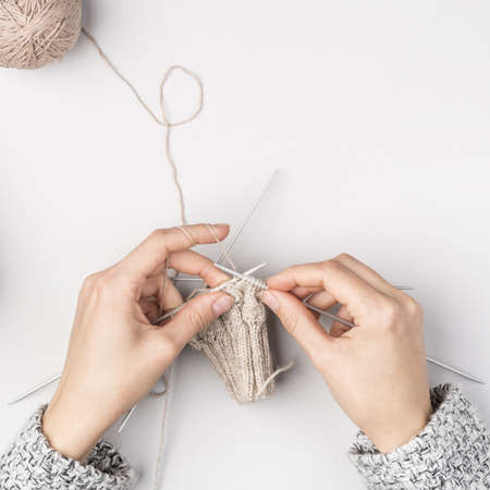 top view woman crocheting (1). Resolution and high quality beautiful photo