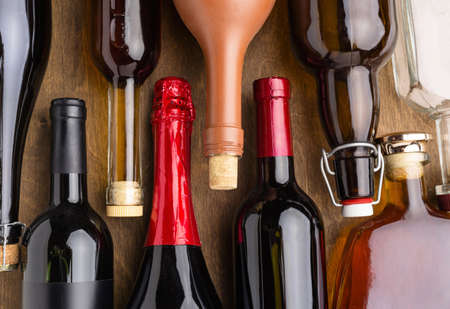 top view bottles alcohol assortment. Resolution and high quality beautiful photo Archivio Fotografico