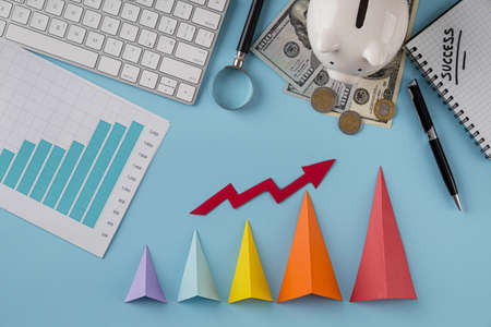 top view business items with growth chart colored cones. Resolution and high quality beautiful photo