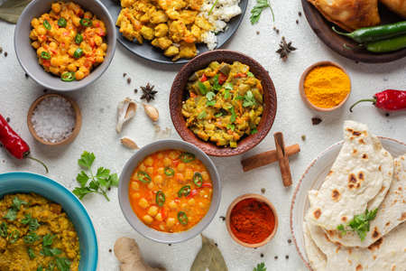 top view bowls with indian food. Resolution and high quality beautiful photo
