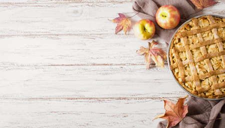 top view apple pie thanksgiving with copy space. Resolution and high quality beautiful photo