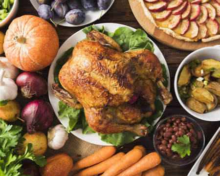 thanksgiving meal concept with turkey. Resolution and high quality beautiful photo Reklamní fotografie - 166065092