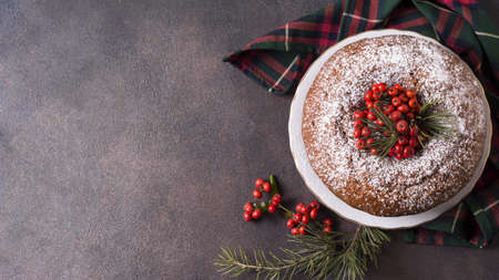 top view christmas cake with copy space red berries. Resolution and high quality beautiful photo Reklamní fotografie - 166062929