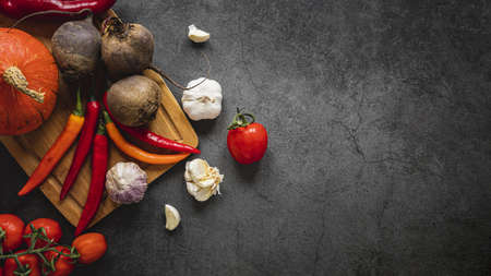 top view assortment veggies dark copy space background. Resolution and high quality beautiful photo Reklamní fotografie