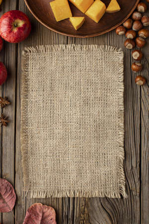 top view autumn food copy space burlap fabric. Resolution and high quality beautiful photo
