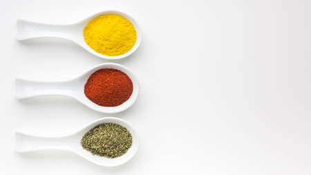 three spoons with spicy powder table. Resolution and high quality beautiful photo