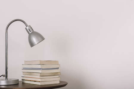 table with lamp books. Resolution and high quality beautiful photo