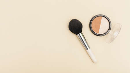 top view blush with make up brush. Resolution and high quality beautiful photo