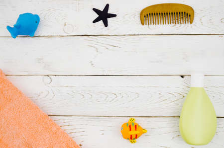 top view baby bath accessories with wooden background. Resolution and high quality beautiful photo