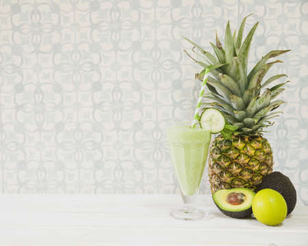 summer smoothie with pineapple copyspace. Resolution and high quality beautiful photo