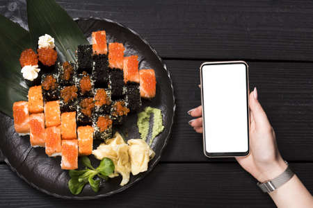 sushi dish at asian restaurant. Resolution and high quality beautiful photo