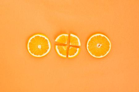 three orange slices. Resolution and high quality beautiful photo