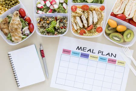 top view assortment food with planner. Resolution and high quality beautiful photo