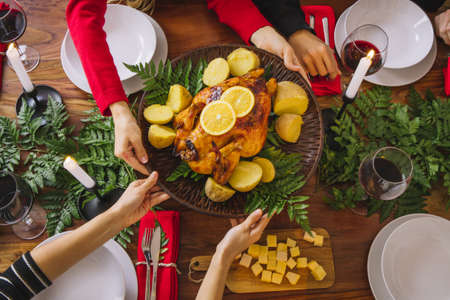 top view christmas dinner with turkey. Resolution and high quality beautiful photo Reklamní fotografie - 166065015