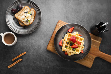 top view breakfast waffles. Resolution and high quality beautiful photo