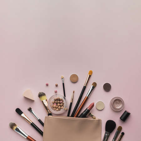 top view arrangement with beauty bag copy space. Resolution and high quality beautiful photo Reklamní fotografie