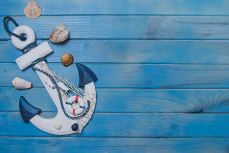 summer composition with anchor seashells and blank space (1). Resolution and high quality beautiful photo Reklamní fotografie