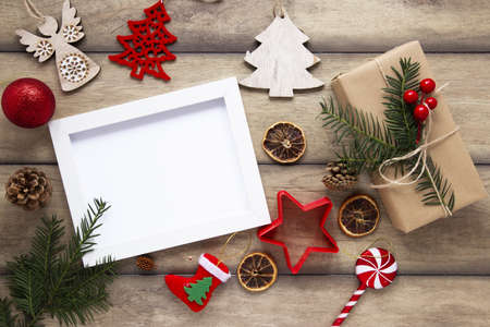 top view christmas frame mock up. Resolution and high quality beautiful photo Reklamní fotografie - 166065022