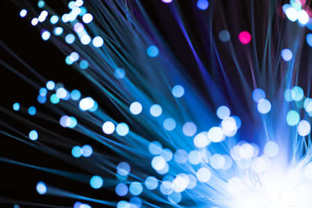 blue fiber lights with defocused spots. Resolution and high quality beautiful photo Stock Photo