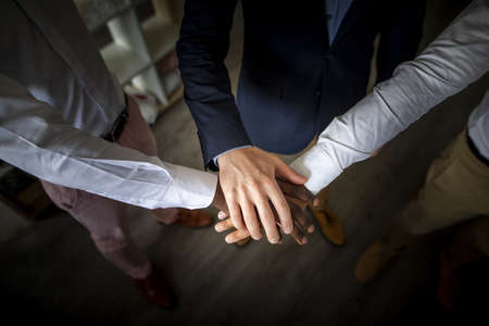 business teamwork joining hands together. Resolution and high quality beautiful photo