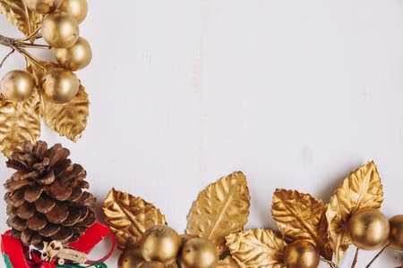 christmas composition gold berries. Resolution and high quality beautiful photo