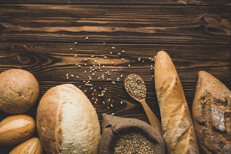 assortment bread loaves wood. Resolution and high quality beautiful photo Reklamní fotografie