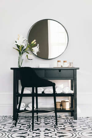 black cupboard with mirror. Resolution and high quality beautiful photo