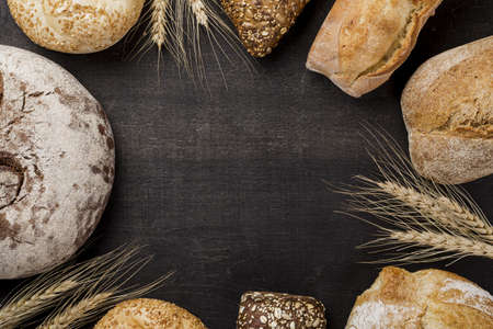assortment of baked bread with copy space. Resolution and high quality beautiful photo
