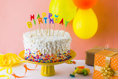 close up of delicious birthday cake with accessories. Resolution and high quality beautiful photo