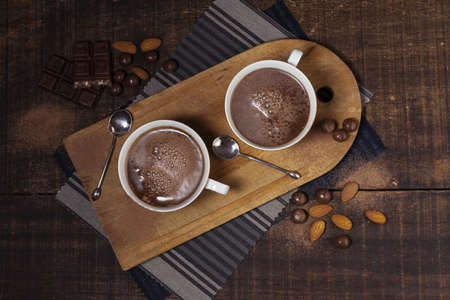 almonds hot chocolate top view. Resolution and high quality beautiful photo Banco de Imagens