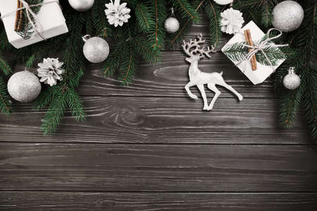christmas composition green fir tree branches with small deer. Resolution and high quality beautiful photo