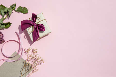copy space pink background with gift. Resolution and high quality beautiful photo