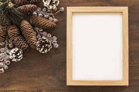 blank frame with big cones table. Resolution and high quality beautiful photo