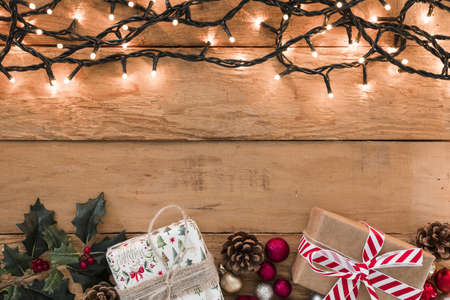 burning garland with small gifts table. Resolution and high quality beautiful photo Banco de Imagens