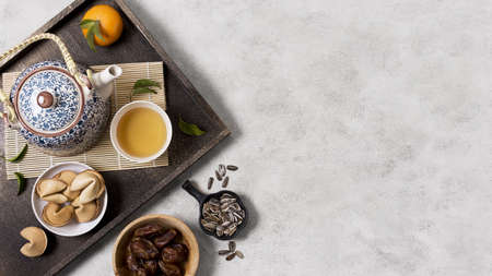chinese new year concept with tea pot. Resolution and high quality beautiful photo Banco de Imagens