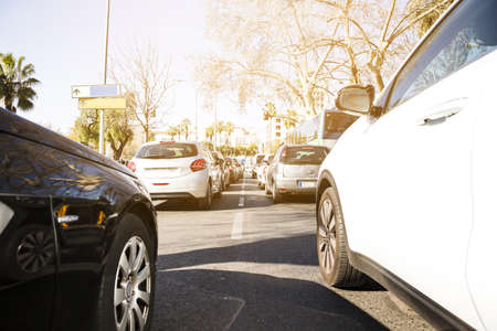 cars highway traffic jam. Resolution and high quality beautiful photo Banco de Imagens