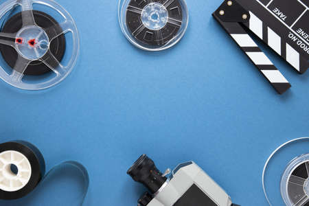 arrangement cinema elements blue background with copy space. Resolution and high quality beautiful photo