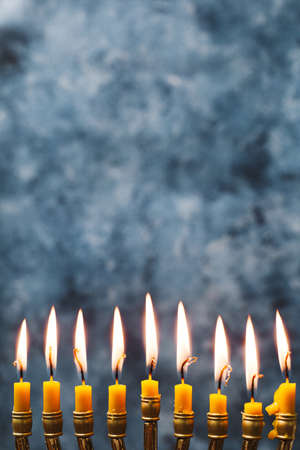 close up holly candles burning. Resolution and high quality beautiful photo Banco de Imagens