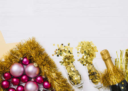 champagne bottle with shiny baubles on table. Resolution and high quality beautiful photo
